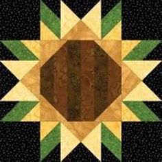 sunflower quilt block patterns - Bing images by lucia Barn Quilt Designs, Barn Quilt Patterns, Pattern Blocks, Quilting Designs, Quilting Patterns, Pattern Fabric, Sewing Patterns, Quilting Ideas, Free Pattern