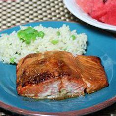 Salmon with Brown Sugar Glaze... salmon. 1/4 cup brown sugar, 2 tbsp dijon mustard, 4 boneless salmon fillets, salt/pepper to taste//Broil 10-15 mins