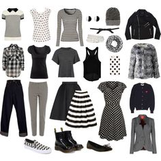 Monochrome Capsule Wardrobe by christina-sparkle on Polyvore featuring Play Comme des Garçons, Jane Norman, NSF, rag & bone/JEAN, H&M, Oasis, Wallis, Vivienne Westwood Red Label, TIBI and Giles