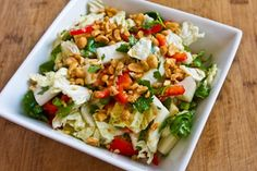 Recipe for Napa Cabbage Salad with Red Bell Pepper, Cilantro, Peanuts, and Dijon-Ginger Dressing | Kalyn's Kitchen®