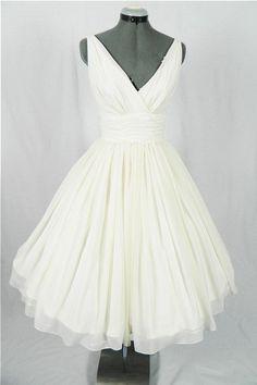 Pin Up Wedding Dress,Vintage Wedding Dress,50s Wedding Dress,Wedding Dress Tea Length,MA145