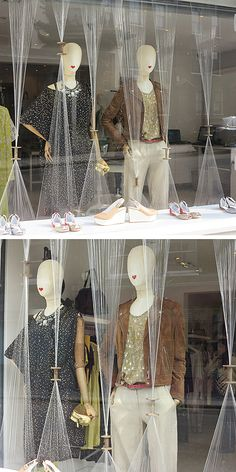 Thinking yarn or ribbon  and toilet paper rolls Our Islington Windows - Synthetic Spool & Thread !