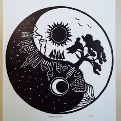 """Original linocut relief print featuring the dichotomy of two worlds using the ancient yin and yang symbol. The print titled """"Juxtaposition"""" is printed on 300 series Strathmore paper, using black Caligo relief ink. Linocut Prints, Yin Yang, Printmaking, Paper Art, Etsy Seller, Handmade Items, Symbols, Ink, Black And White"""