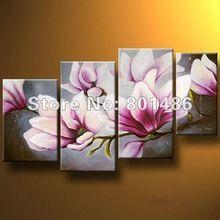 ücretsiz kargo! Güzel modern dekoratif manolya ağacı yağlıboya 4 adet çiçek ev duvar sanatı çerçevesiz(China (Mainland))