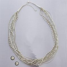 Multi-Bead Liquid Silver Necklace and Button Earrings