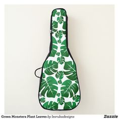 Green Monstera Plant Leaves Guitar Case for guitarists and musicians. Acoustic Guitar Strings, Acoustic Guitars, Martin O'malley, Guitar Bag, Guitar Stand, Sculpture Projects, Green Gifts, Plant Leaves, Monstera Leaves