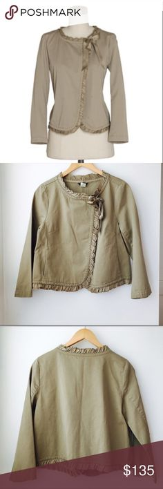 J. Crew jacket Liana Jacket by J. Crew In khaki with silk tie and ruffles along the edges, 3/4 sleeves, interior button closure at the neck, hidden slit on seam pockets. Size 10. NEW WITH TAGS. J. Crew Jackets & Coats