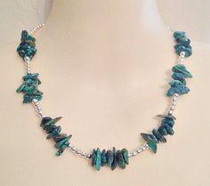 "New Genuine Turquoise Stones Blue Green Stone Necklace 17""                #Statement #necklace #turquoise #stone #gemstone #jewelry #fashion #style"