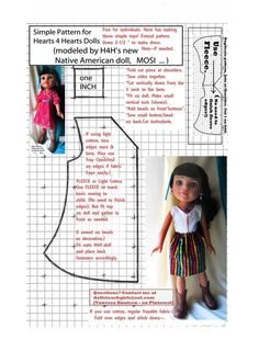 FREE fleece jumper pattern - fits the wonderful dolls.online shows you ALL the different dolls.Résultat d'images pour Free Printable Doll Clothes Pa Sewing Doll Clothes, American Doll Clothes, Sewing Dolls, Girl Doll Clothes, Girl Dolls, Doll Dress Patterns, Clothing Patterns, Native American Dolls, Wellie Wishers Dolls