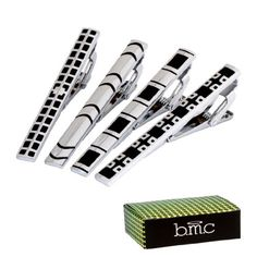 BMC 4pc Mens Fashion Metal Alloy Silver and Black Mix Design 2.2 In. Tie Bar Clips-Set 1 b.m.c http://www.amazon.com/dp/B00JW2S15I/ref=cm_sw_r_pi_dp_AYqfxb0VSM2EK