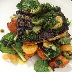 Grilled arctic char/salmon w/ sweet potato, green olives, tangerine, & green harissa // Suzanne Goin