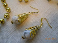 """1 1/4"""" Gold and White Turquoise Bead Cone Dangle Earrings by maryannsway on etsy"""
