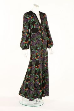 Ossie Clark/Celia Birtwell printed black wool jersey evening dress, 1973.