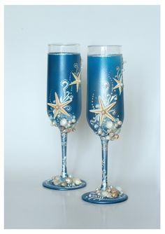 Blue Wedding Glasses Wedding champagne glasses hand by IrenDesigns, €40.00