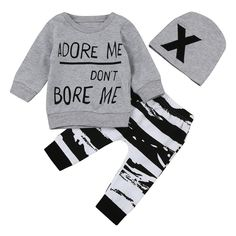 e5a7f164f128 Newborn Baby Girl Boy Clothes 2017 Autumn Letter Printing Clothing Set For  Baby Long Sleeve Top + Pants+Cap - Star Kidz Clothing