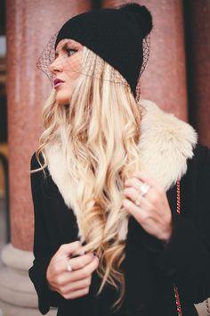 all black winter wear // veil beanie New veiling trend #millinery #judithm #hats