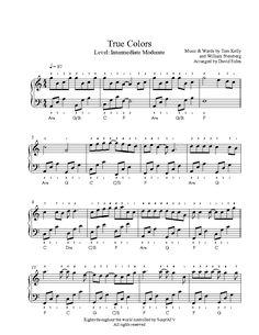 Modern Ideas True Colors Piano Sheet Music By Cyndi Lauper Intermediate Level Piano Sheet Music Classical, Easy Piano Sheet Music, Music Sheets, Piano Songs, Piano Music, Guitar Songs, Saxophone Sheet Music, Violin, Clarinet