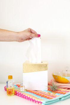 DIY Gold Leaf Tissue Box Holder | lovelyindeed.com