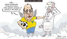 Charge do Dum (Zona do Agrião), em parceria com o Lute, sobre a morte de Carlos Alberto Torres (26/10/2016) #Charge #Dum #Futebol #CarlosAlbertoTorres #Capita #RIP #HojeEmDia