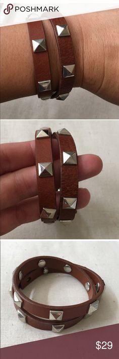 Stella and Dot Leather Wrap Bracelet Stella and Dot Wrap Bracelet in a Cognac Leather. Three adjustments for a perfect fit! Wear alone or stacked. Excellent condition. Price firm. Stella & Dot Accessories