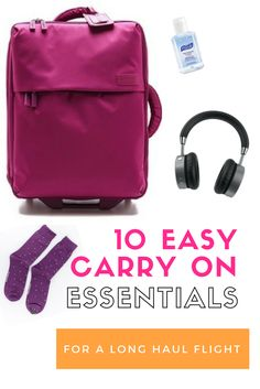 10 Easy Carry On Essentials for a Long Haul Flight. A concise list of essential items you should bring for your next flight to fly comfortable and happy.