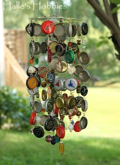 Bottle cap wind chime. Cool!