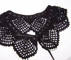 Black crocheted Collar Necklace Ready to ship by fancyloopsl