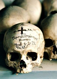 """The inscription on a skull—at St. Anne's monastic community—records the death of a Father Gregentios in 1979.""    —From ""The Byzantine Empire: Rome of the East,"" December 1983, National Geographic magazine"