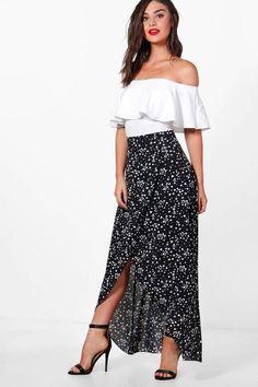 boohoo Macy Stars & Hearts Wrap Front Maxi Skirt