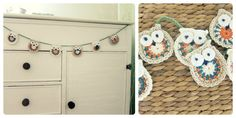 Owl Garland  - by lolli & bean  Designed for a nursery with a slight retro tone - cream, stone, orange and teal with a sage green crochet string.