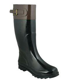 Shiny Black Contrasting Rain Boot by Capelli New York #zulily #zulilyfinds