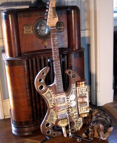 The Thunderer, Will Rockwell's Steampunk electric guitar on Etsy; Yes, please.