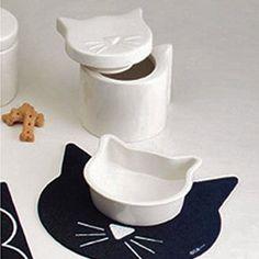 Amazon.com: ORE Cat Dish and Treat Jar Set: Pet Supplies