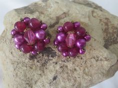 Vintage Purple West Germany cluster Earrings clip-on