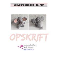 "94 synes godt om, 5 kommentarer – @mormorshaekleliv på Instagram: ""Så blev opskriften til babyelefanten Ella klar🐘- størrelsen passer perfekt til en barnevognskæde😊…"""