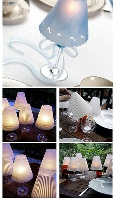 All it takes is a wine glass, a velum tent (decorated or crimped to your liking) and a tea light to make these ritzy-looking wine-glass candle lamps