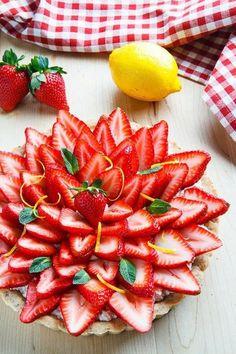 Lemon Ricotta Strawberry Pie with Poppy Seed Shortbread Crust