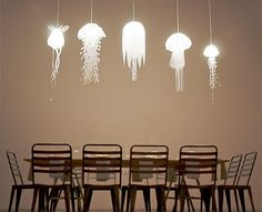 JELLYFISH LAMPS~Made out of translucent mylar, these unique lamps will fill your entire room with glowing light and calming feeling of the ocean.