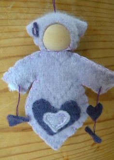 Heart doll Ornament in Lavender & purple