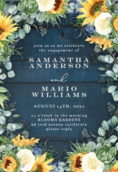 Sunflowers on Navy Blue Wood - Engagement Party Invitation #invitations #printable #diy #template #Engagement #party #wedding Dinner Party Invitations, Wood Wedding Invitations, Engagement Party Invitations, Bridal Shower Invitations, Housewarming Invitation Templates, Wedding Invitation Templates, Blue Wood, Wedding In The Woods, Save The Date Cards
