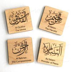 99 Names of Allah- Magnetic Wood Party Favors Al Asma Ul Hus.- 99 Names of Allah- Magnetic Wood Party Favors Al Asma Ul Husna - Party Favors, Geometric Box, Allah Calligraphy, Allah Names, Allah God, Islamic Wall Art, Wood Cutouts, Copper Metal, Unity
