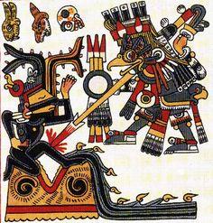 Tlahuizcalpantecuhtli as an owl shooting Tezcatlipoca