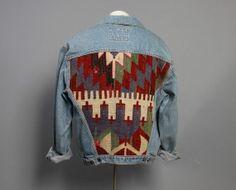 80s KILIM Jean JACKET / Blue Denim & Wool Ethnic