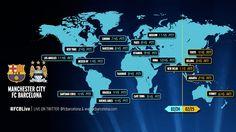 Los horarios del City-Barça. Barça  WWW.FCBARCELONA.CAT    22/02/201518:00  Te ofrecemos una guía con los horarios y las televisiones en las que podrás seguir, en todo el mundo, el partido del martes de los azulgranas  Tweeten Twitter (abre nueva pestaña en el navegador)CompartirFC Barcelona en Facebook (abre nueva pestaña en el navegador)+1en Google plus (abre nueva pestaña en el navegador)Pinterest(abre nueva pestaña en el navegador)Instagram(abre nueva pestaña en el navegador)…