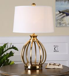Buy the Uttermost 26167 Brushed Brass Direct. Shop for the Uttermost 26167 Brushed Brass Decimus 1 Light Table Lamp and save. Light Table, Lamp Light, Contemporary Table Lamps, Contemporary Furniture, Contemporary Style, Metal Table Lamps, Brass Lamp, Brass Metal, Bedroom Lamps
