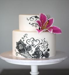 black and white, lily cake