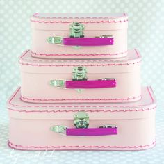 Orchid Pink Paper Suitcase Set - Fuchsia Handles for food display!  LOVE IT!!!!!