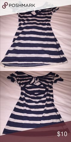 Hollister Striped open back tee White and navy striped Hollister Tops Blouses