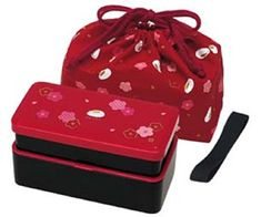 Japanese Traditional Rabbit Blossom Bento Box Set - Square 2 Tier Bento Box, Rice Ball Press, Bento Bag (Red) ** Details can be found at…