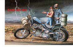 David Mann moto Poster Art Ride milieu de nulle part par darkartink                                                                                                                                                                                 More